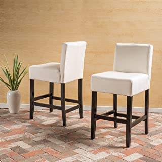 Christopher Knight Home 299486 Lopez Beige Fabric Counter Stool (Set of 2)