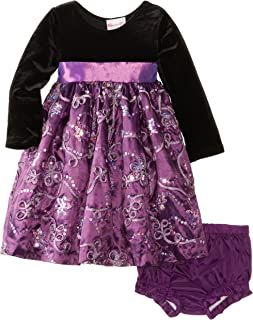 Nannette Baby Girls' 2 Piece Soutache Sequin Taffeta Dress with Panty
