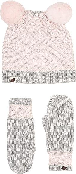 Chevron Pom Hat/Mitten Set (Toddler/Little Kids)