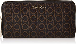 Calvin Klein Zip Around Wallet for Women-Brown Mono