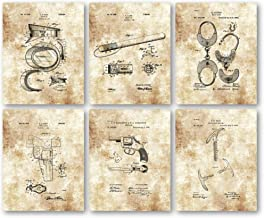 Ramini Brands Original Police Officer Patent Artwork - Set of 6 8 x 10 Unframed Prints - Great Gift for Cops, Cadets and Law Enforcement Officers - Vintage Police Department Decor - Mancave Art