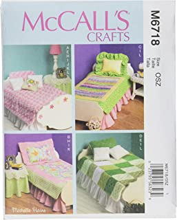 McCall Patterns M6718 Bed Mattress and Bedding Ensemble for 18-Inch Doll, Table Skirt, Lamp and Night Stand Sewing Template, One Size Only