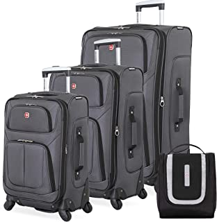 SWISSGEAR 6283 Amazon Exclusive Premium 3pc Spinner Luggage Set with Dopp Kit Bundle- Dark Grey