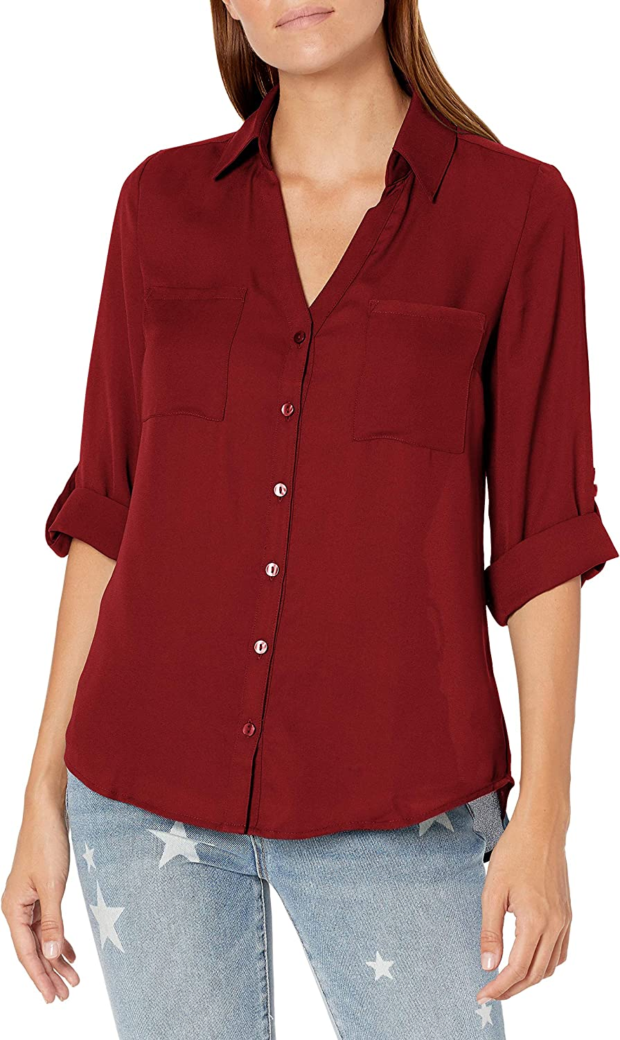 A. Byer Women's Button Down Top with Roll-Tab Sleeves (Junior's)