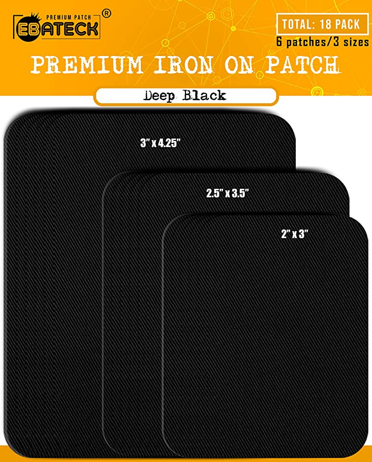 Ebateck Iron On Patches Black Denim for Clothes - Fabric Repair Patch kit for Clothing Pants Jeans - Large Size for Men, Woman, Girls, Kids - Super Strong (Upgrade Adhesive 0.12) with 18 Pack cvhvsyccv384