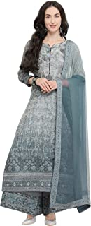 Rajnandini Women's Charcoal Pure Muslin Embroidered Semi-Stitched Salwar Suit Material (Free Size)