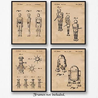 Original Star Wars Droids & Robots Patent Art Poster Prints, Set of 4 (8x10) Unframed Photos, Great Wall Art Decor Gifts Under 20 for Home, Office, Man Cave, Student, Teacher, Comic-Con & Movies Fan