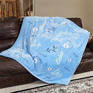1i4 Group ReLive Encouraging Floral Velvet Luxury Throw Blanket 50x60 Soft Sentiments Blue