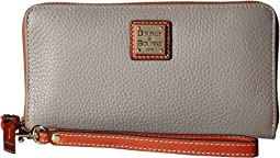 Pebble Leather Large Zip Around Wristlet