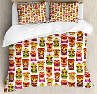 Tiki Bar Decor Duvet Cover Set Queen Size,60'S Retro Inspired Cute Hawaiian Party Happy Tiki Statues Pattern Colorful Theme,Print Duvet Cover Set Full Size Queen Size King Size,Multicolor