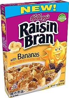 (Discontinued Version) Kellogg's Raisin Bran, Breakfast Cereal, With Bananas, Good Source of Fiber, 14.5 oz Box