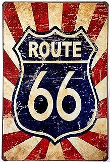 ERLOOD Route 66 Us Road Retro Decor Metal Wall Plaque Vintage Tin Signs 12 X 8