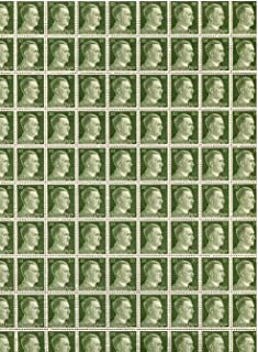 FULL AND COMPLETE GERMAN WWII HITLER HEAD STAMP SHEET OF 100 STAMPS 30 RPF VALUE. FULL GUM