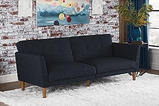 Novogratz Regal Futon with Tufted Linen Upholstery, Navy