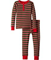 Hatley Kids - Santa Stripes Waffle Henley PJ Set (Toddler/Little Kids/Big Kids)