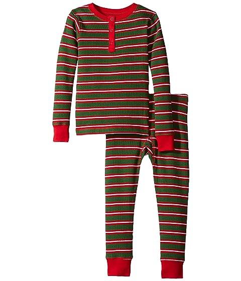 Santa Stripes Waffle Henley PJ Set (Toddler/Little Kids/Big Kids)