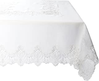 """Violet Linen Imperial Embroidered Vintage Lace Design Oblong/Rectangle Tablecloth, 70"""" x 160"""", Cream"""