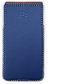 Blackberry KeyOne Leather Case with Built-in Holster No Belt Clip (Glossy Navy)
