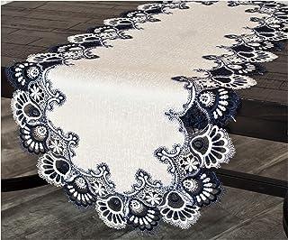 مفرش طاولة لمنضدة القهوة من Linensens, Art and Things أبيض كحلي من قماش الجاكار وذيل طاووس مقاس 40.64 × 88.9 سم تقريبًا