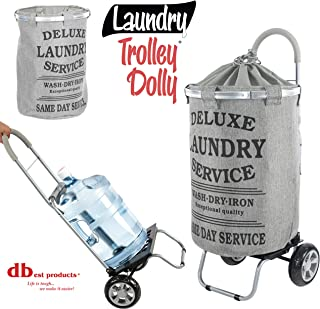 dbest products Laundry Trolley Dolly, Grey Laundry Bag Hamper Basket cart with wheels sorter