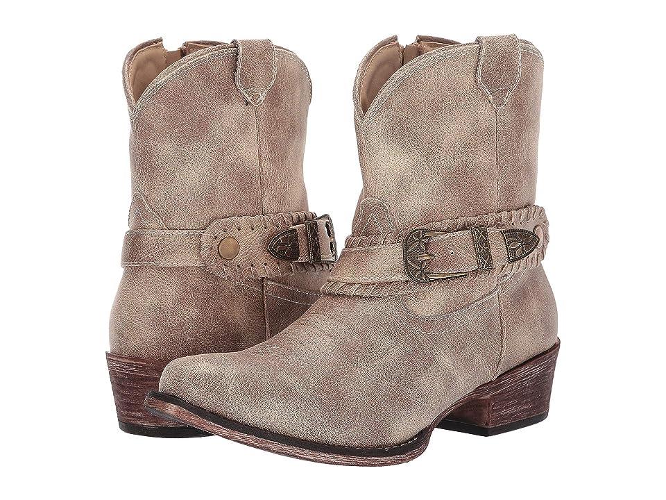 Roper Nelly (Vintage Beige Faux Leather) Cowboy Boots