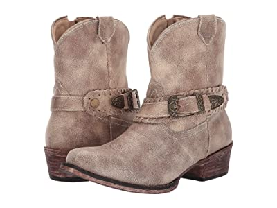 Roper Nelly (Vintage Beige Faux Leather) Cowboy Boots
