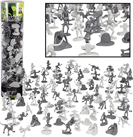 Zombie Army Action Figures - Big Bucket of 100 Zombies with 14 Unique Sculpts - Zombies, Pets, Graves, and Humans For Playtime, Decoration and Parties