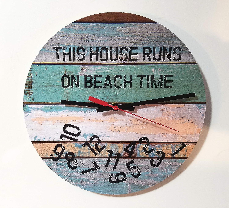 Funny Rustic Beach Clock: This Sales Award House Time On Runs Nautica