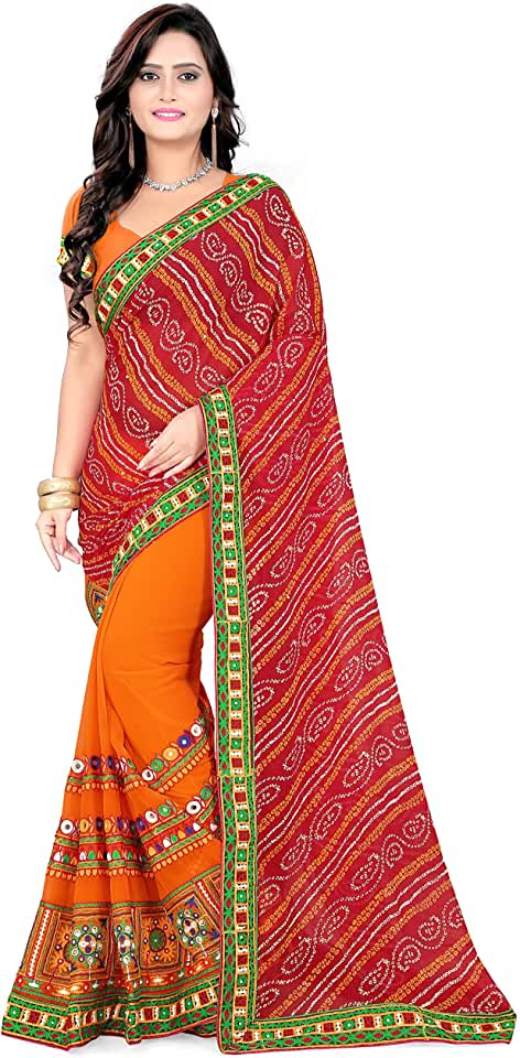 Indian RIVA ENTERPRISE Women's Bandhni Print Georgette with blouse piece Saree Saree