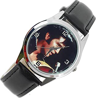 TAPORT Elvis Presley Quartz Round Watch Real Leather Band Dial Photo E2+ Spare Battery + Gift Bag