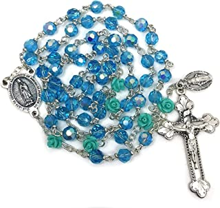Elysian Gift Shop Our Lady of Guadalupe Green Aqua Blue Rose Silver Italian Rosary with Aqua Aurora Borlealis Austrian Crystal and Rose Beads