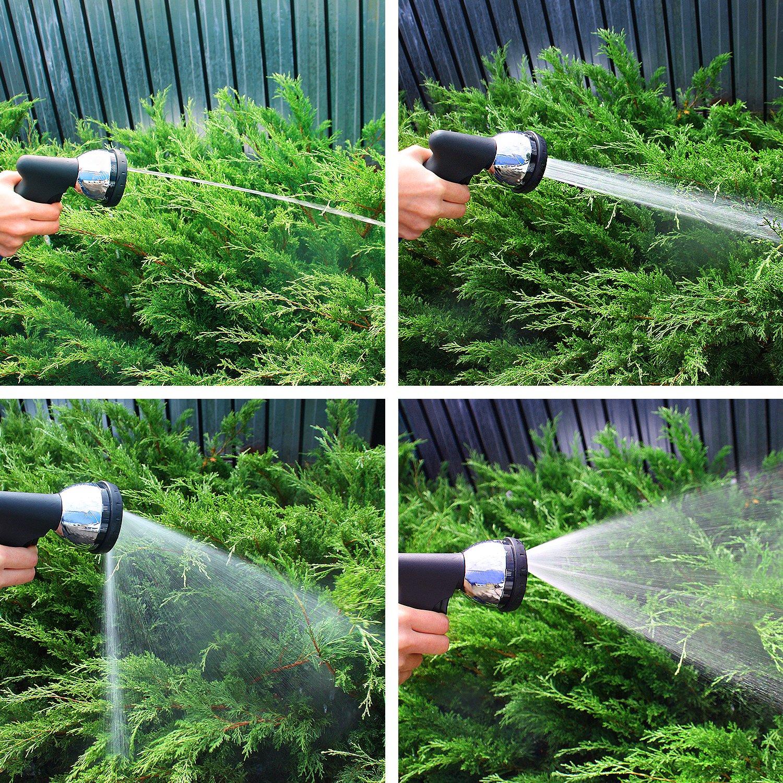 GRÜNTEK Manguera de jardín flexible extensible 22, 5 M COBRA con pistola de riego de 10 chorros. Kit completo y ligero con conector rapido y presión de 3 a 10 bar. Para