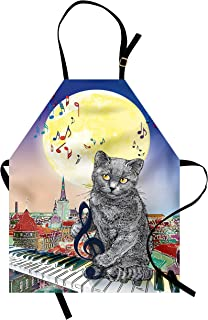 Ambesonne City Apron, Musical Notes Cat The Keyboard on Rooftops in Night Sky Old Town Full Moon Art Print, Unisex Kitchen Bib with Adjustable Neck for Cooking Gardening, Adult Size, Cream Grey