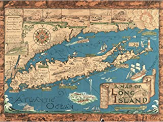 Smith 1933 Pictorial Map Long Island Ny History Large Wall Art Poster Print Thick Paper 18X24 Inch
