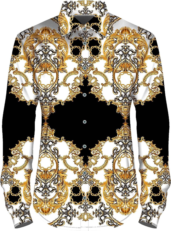 Alimens & Gentle Men's Long Sleeve Print Shirt Regular Fit Luxury Floral Button Down Dress Shirts