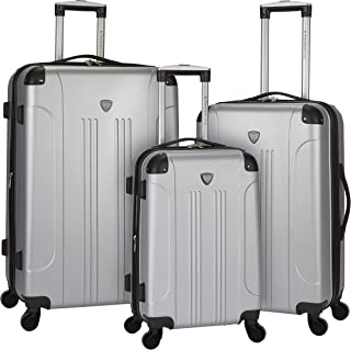 Travelers Club Chicago Hardside Expandable Spinner Luggage, Silver, 3-Piece Set (20/24/28)