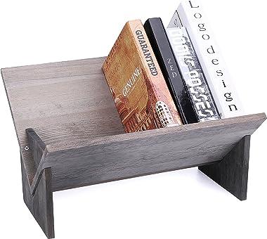 MyGift Rustic Barnwood Gray Tilted Desktop Decorative Storage Organizer Display Bookshelf