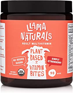 Llama Naturals Plant Based Vitamin Bites (Adults); Organic; No Added Sugar, Sweeteners or Synthetics; Real Fruit Multivita...