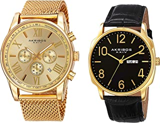 Akribos XXIV Men's 2 Watch Set - 1 Multifunction Watch On Mesh Stainless Steel Bracelet and 1 Classic Everyday Watch On Genuine Leather - AK885