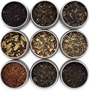 Golden Moon Tea LOOSE LEAF TEA SAMPLER - 9 Variety Pack - Organic Tea Sampler Gift Set - Black Tea, Green Tea, White Tea, Herbal Tea