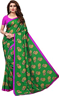 ETHNICMODE India Women's maalgudi and Kalamkari Silk Style Saree with Blouse Piece (Multi-Color_Free_Size) GOPALA Green