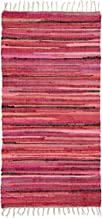 Relaxdays Rag Rug 70 x 140 cm with Fringes Made of Polyester and Cotton, Multi-Colour, Bath Mat, Red