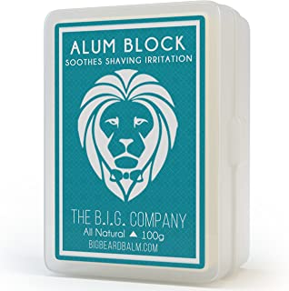 Alum Block - 3.52oz Large Alum Rock in Storage Case - Soothing Aftershave Astringent to Close Pores - Alum Stone Helps Stop Bleeding from Nicks and Cuts - Comes with Shaving Guide - The B.I.G. Company