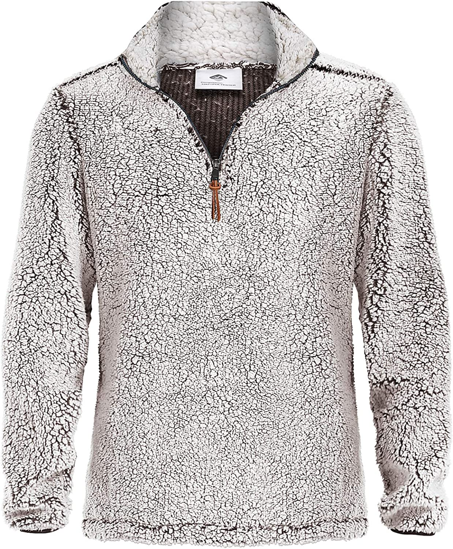 MAGNIVIT Men's Quarter Max 45% OFF Sale SALE% OFF Zip Fleece Sweater Pullover Sherpa Long S