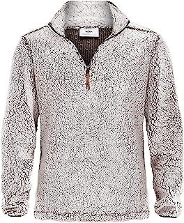 MAGNIVIT Men's Quarter Zip Fleece Sherpa Pullover Sweater Long Sleeve Sweatshirt with Pockets