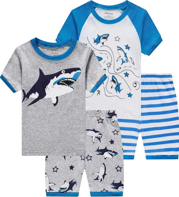 Dinosaur Pajamas For Boys Toddler Kids Glow in The Dark T-Rex 4 Pieces Short PJs Set