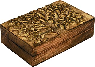 SAAGA Multipurpose Decorative Wooden Jewelry Trinket Holder Keepsake Storage Box with Tree of Life Carving/Handmade : 8x5.5 inches (LxB)