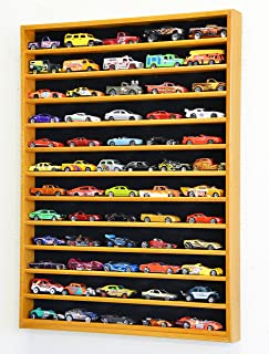 60 Hot Wheels Hotwheels Matchbox 1/64 Scale Diecast Model Cars Display Case - NO Door (Oak Wood Finish)