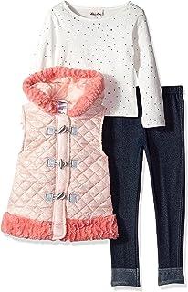 Little Lass Girls' 3 Pc Sparkle Puffer Vest Set