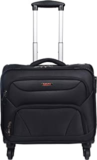 Murano Cannon 4 Wheel Polyester 28 ltr Black Soft-Sided 15.6 inch Laptop Overnighter Bag/Luggage Bag